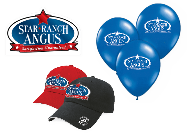 Star Angus Ranch hats and balloons