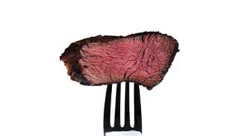 Steak Cooked Properly on Fork