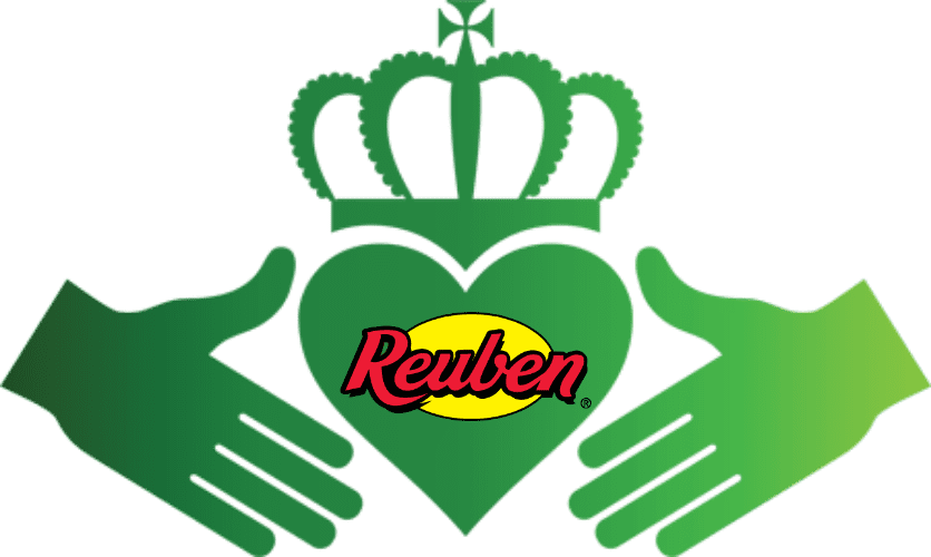 Reuben logo with heart and crown and hands