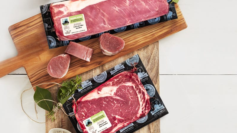 Open Prairie Natural Meats packaged beef and pork